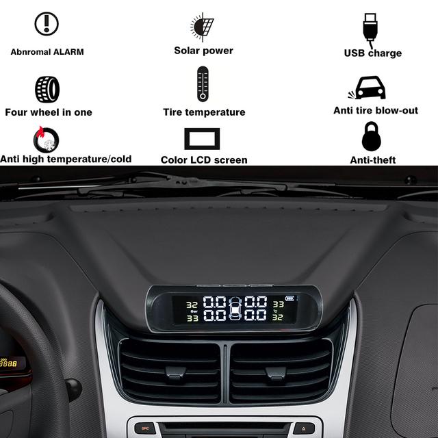 Hippcron Tire Pressure Alarm Sensor Monitor System Tpms Car Display Internal / External Solar Power Charging Temperature Warning