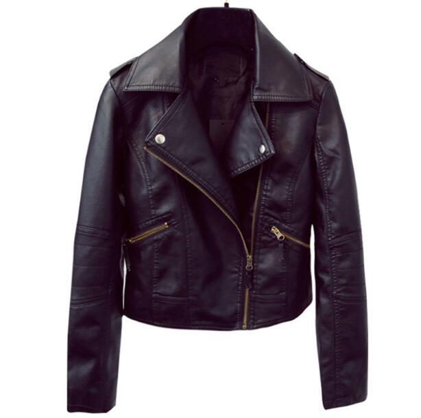 2018 New spring Faux   Leather   Jackets Women Classic Black Color Turn-Down Collar Zipper Short Women Biker   Leather   Jacket S-XXL