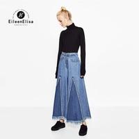 Eileen Elisa Hosen Jeans Frauen Marke 2017 Herbst Denim Hosen Dame Casual Mit Reißverschluss Zerrissene Flare Jeans