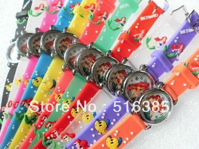 10pcs/lot  Wholesale NEW Cartoon 3D Children Watch Good Gift kids watch The Little Mermaid  wristwatch