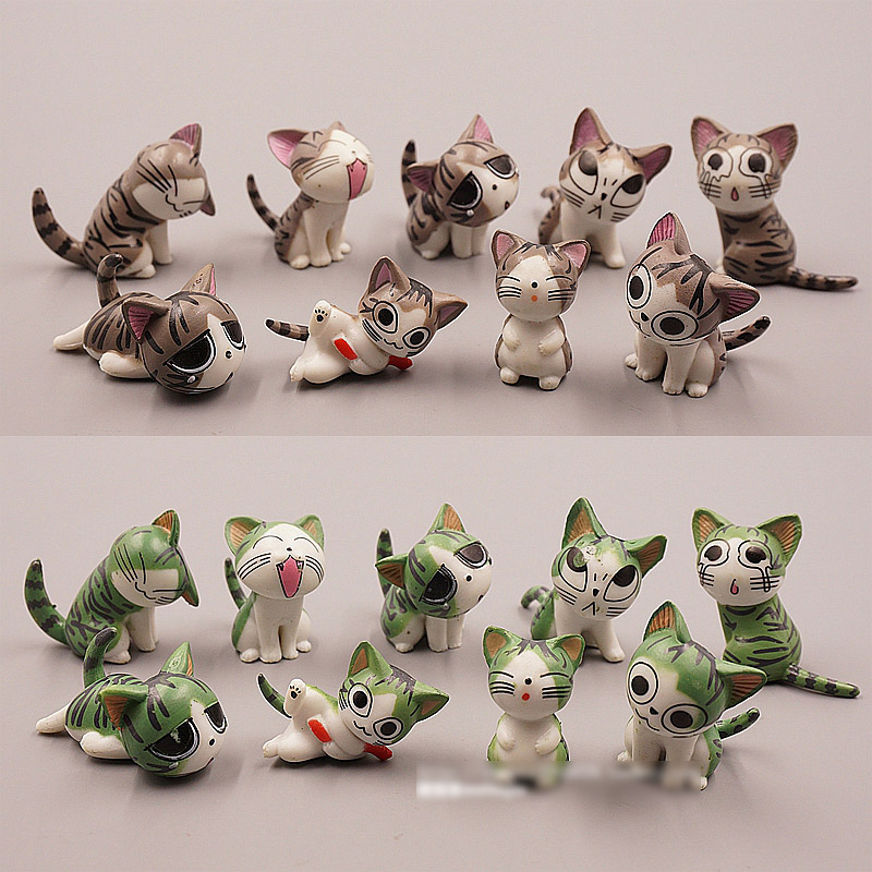 9pcs/Lot 2015 New 2-3cm kawaii pvc Japanese anime figures green/grey chi's sweet home cat action figure best kids toys for girl image