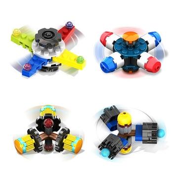 Building Blocks Tri-Spinner Fidgets Toy Plastic Fidget Spinner For Autism and ADHD Funny Anti Stress Toys Random Send xiaomi mitu building blocks finger fidget anti stress toy