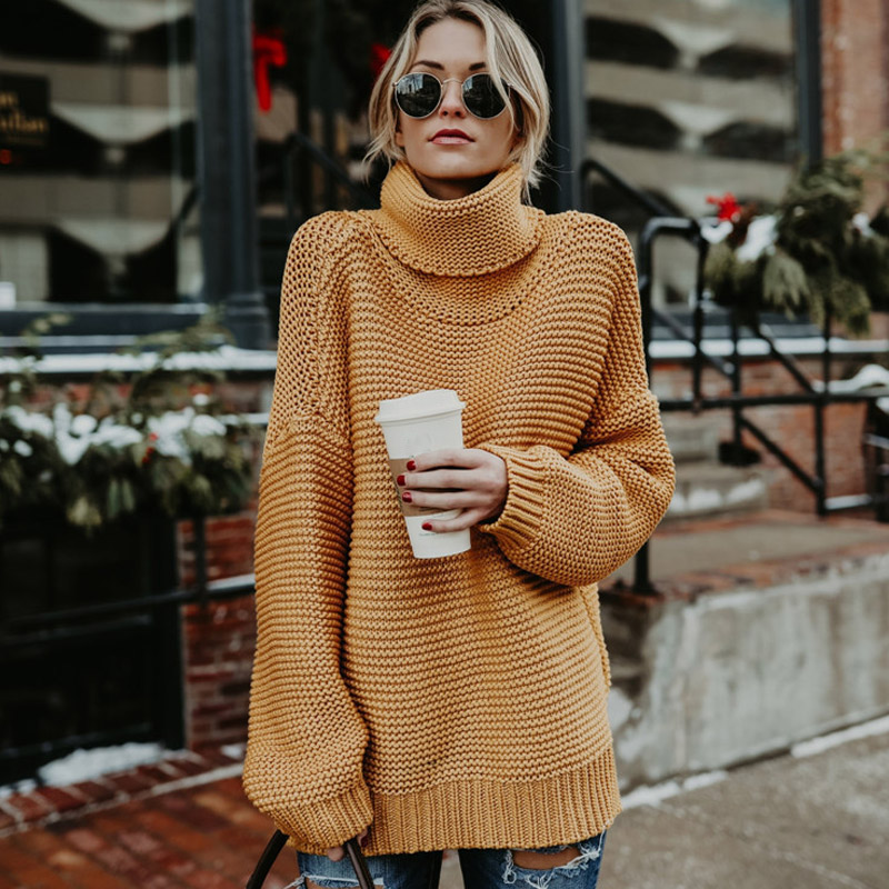 Women Winter Autumn Turtle Neck Baggy Sweater Knitted Oversized Solid  Jumper Tops FS99-in Pullovers from Women s Clothing on Aliexpress.com  b889d5f3e