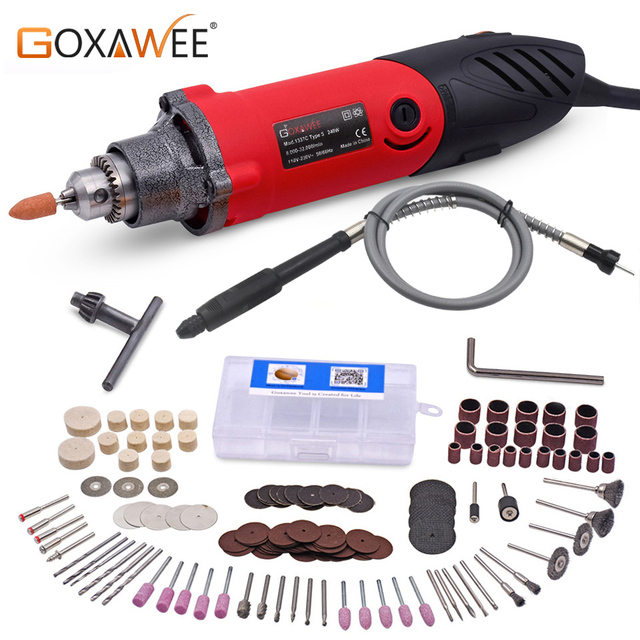 GOXAWEE 240W Electric Drill Dremel Type Electric Grinder Rotary Tool Mini Grinder Die For Grinding Metalworking Drilling Machine