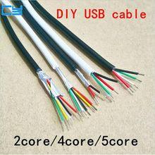 5 m/10 m/15/20 m diy ul2464 28 awg 5 cabo de núcleo para usb mouse teclado cabo de dados 4 condutor nenhum escudo diâmetro exterior