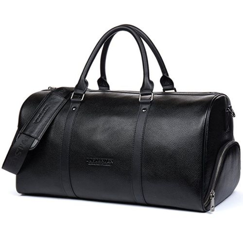 Sport Gym Genuine Real Leather Duffel Bag Weekender Overnight Luggage For Men Women Trav ...