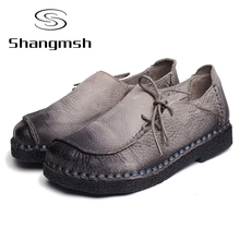 Handmade vintage women's shoes genuine leather female moccasins loafers soft cow muscle outsole casual shoes flats Plus Size