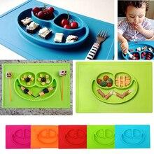 3 Cuadrículas De Silicona Niño bebé Comedor Plato Tazón Placa Placas Bandeja para Niños Entrenamiento Bebé Mantel Platos Bebé Vajilla
