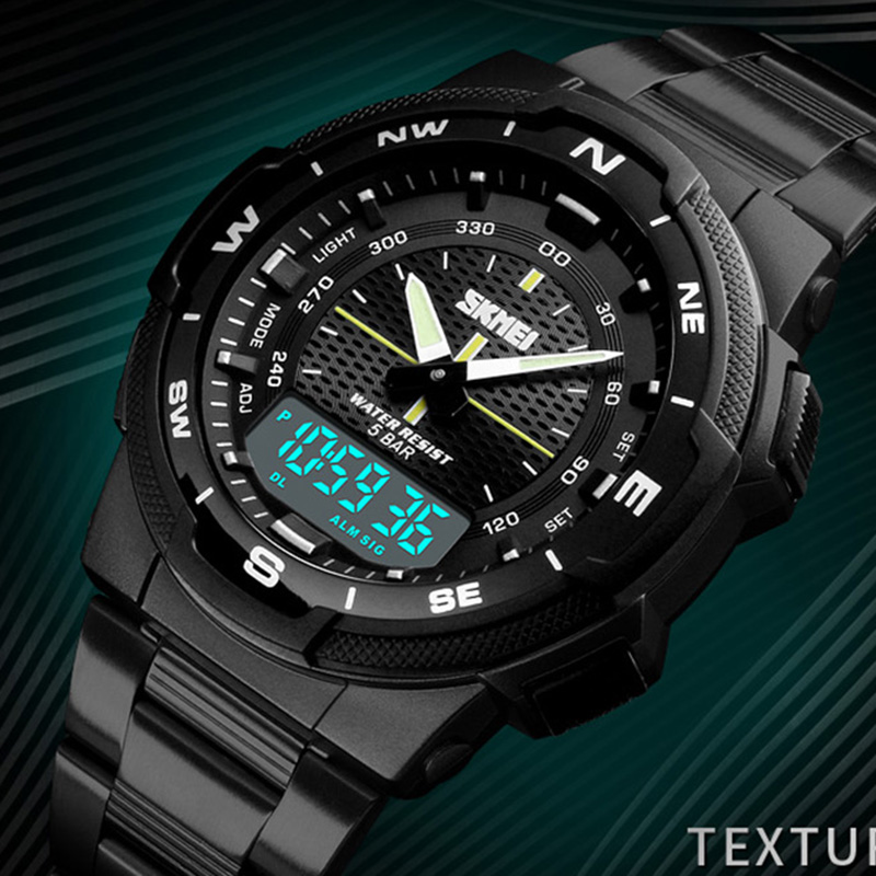 Military Sport Watches Men Digital Quartz Analog Watch Clock Man Dual Display Steel Band Wristwatches reloj hombre 2018 SKMEI men sports watches dual display analog digital led electronic quartz wristwatches waterproof military watch reloj hombre skmei