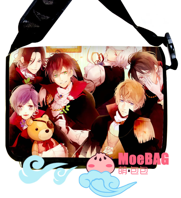 Anime DIABOLIK LOVERS cos Sakamaki Kanato/Shu Full cartoo printing Canvas not PU fashion man woman Handbags College schoolbags diabolik lovers anime sakamaki ayato kanato laito shu reiji subaru mukami ruki japanese rubber keychain halloween sp3