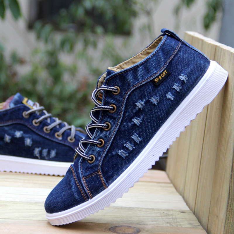 British Style Fashion Vintage Denim Jean Canvas Shoes Men High-top Casual Man Ankle Boots Flat ...