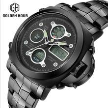 Men's military stainless steel watch LED dual display alarm fashion sport 30ATM waterproof men watch