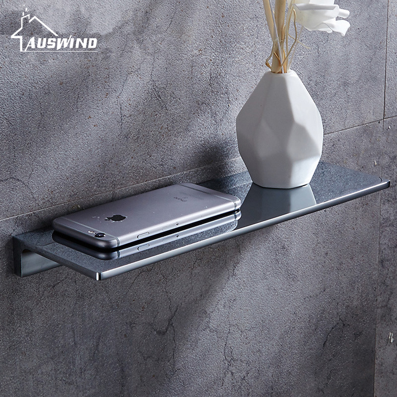 AUSWIND Contemporary Copper Bathroom Rack Glass Bathroom Mirror Front Wall Square base Board Basket Hanging Washing Table