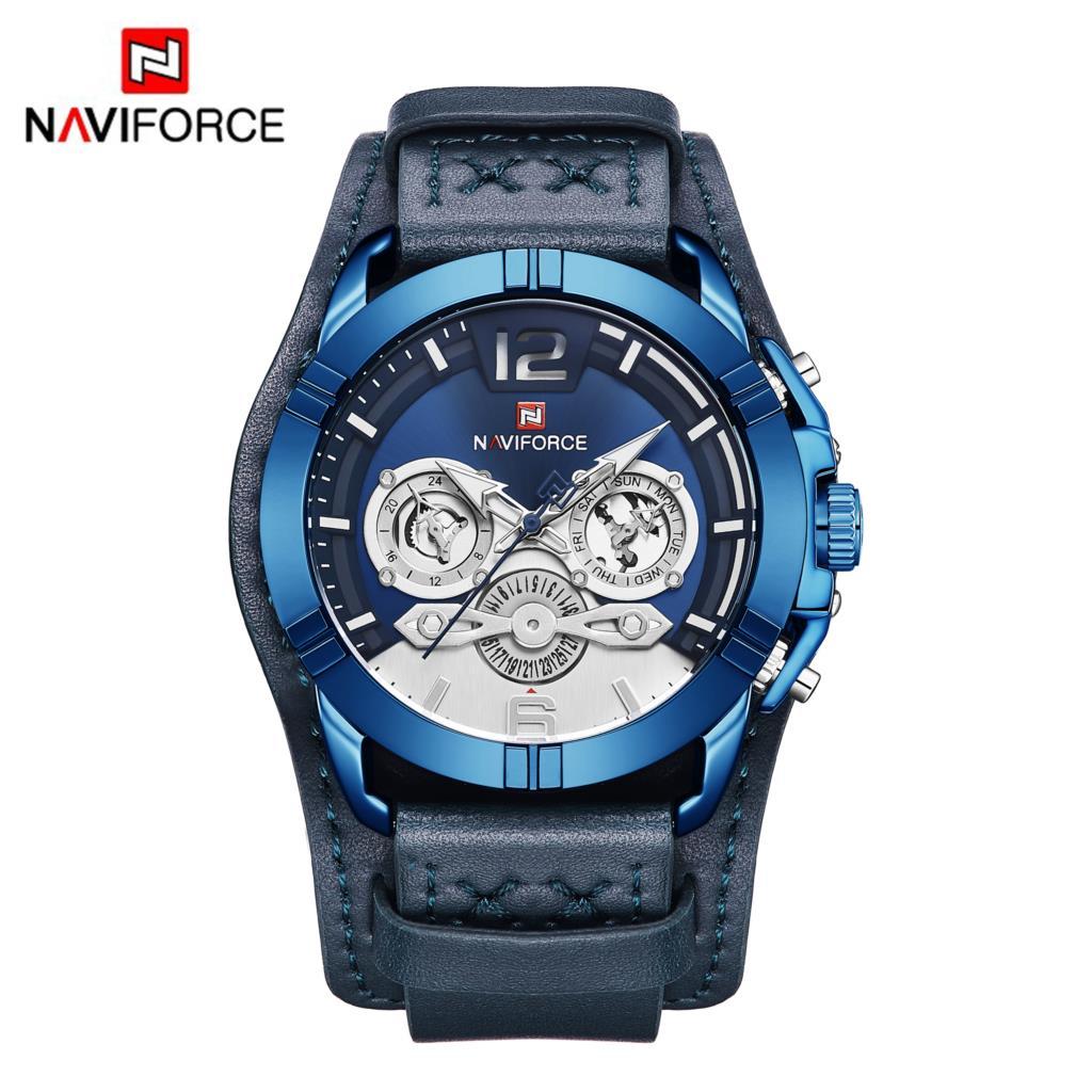 a0c269c765ac NAVIFORCE hombres reloj de deporte de moda de cuero Hombre relojes de  cuarzo de lujo para hombre marca 30 M resistente al agua reloj Relogio  Masculino azul ...