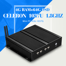 Низкая цена процессора celeron C1037U 4 г оперативной памяти DDR3 64 г ssd может oem / odm мини-компьютер оптовая продажа безвентиляторный дизайн портативного компьютера