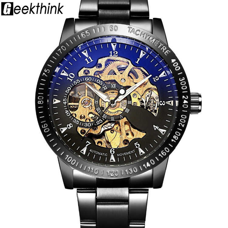 Top Luxury Brand Mechanical Watch Men's Automatic Self wind Wristwatch Stainless Steel Skeleton Fashion Clock Male Steampunk shenhua brand black dial skeleton mechanical watch stainless steel strap male fashion clock automatic self wind wrist watches