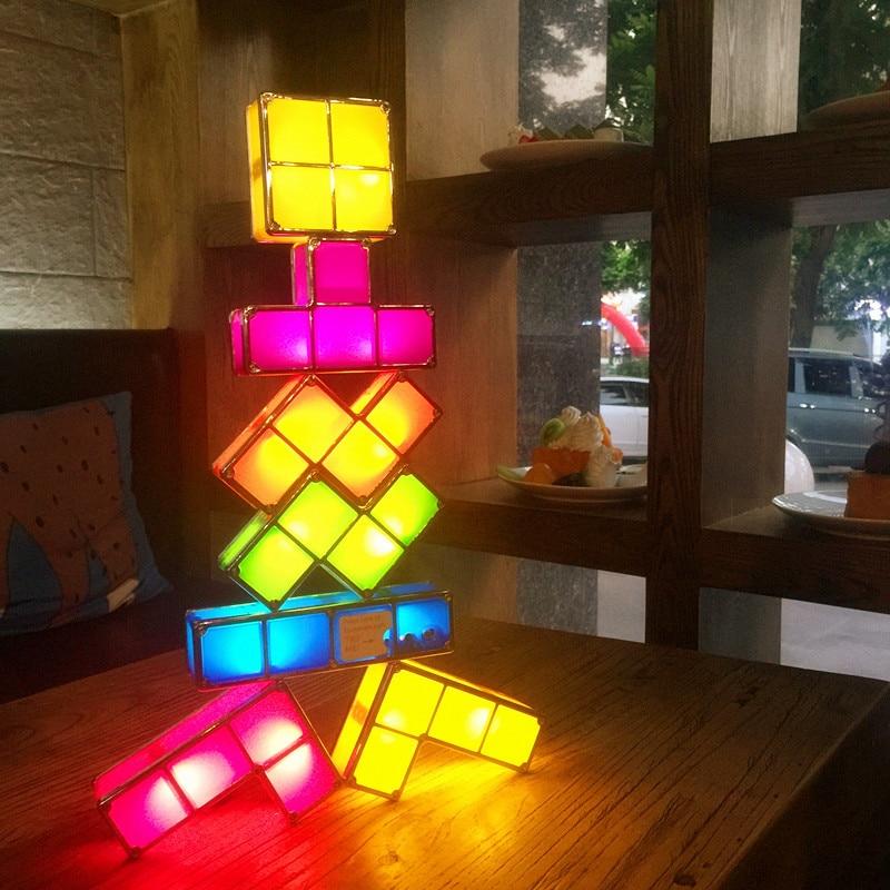 7 Pcs DIY Tetris Puzzle Block Night Light Stackable LED Desk Lamp Constructible Romantic Novelty For Baby Children Kids Gift Toy