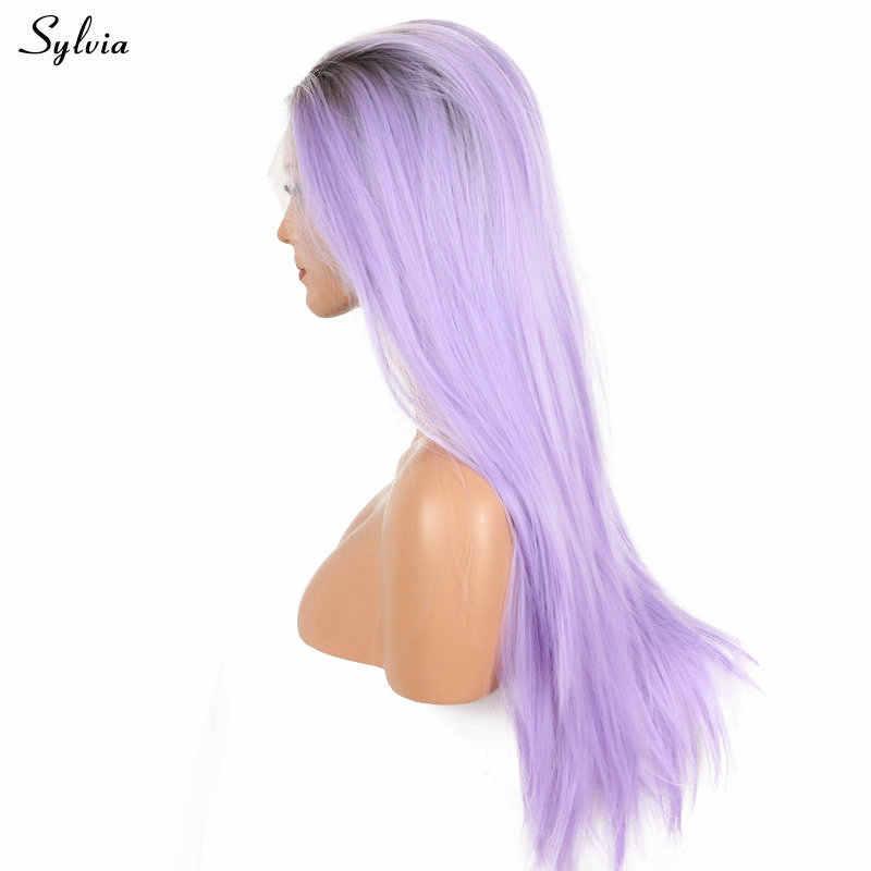 Sylvia luz púrpura peluca larga sedoso recto de las mujeres de pelo sintético peluca delantera de encaje marrón raíz ombre Lila/ lavanda