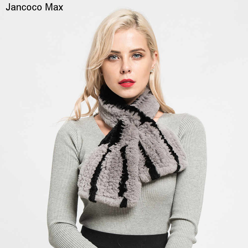 Jancoco Max Nova Chegada das Mulheres Inverno Quente Verdadeira pele de Coelho Rex Lenço da Pele Moda Listrado Cachecol Xale de Qualidade Superior S7129