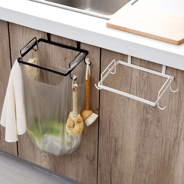 MeyJig Iron Kitchen Hanger Cabinet Door Trash Bag Holder Garbage Organizer  Rack Cupboard Plastic Bag Hanging