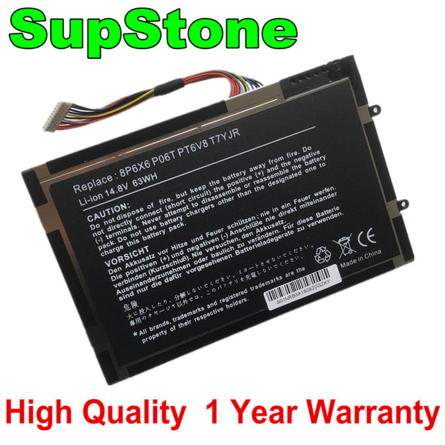 SupStone Новый 63Wh 8P6X6 P06T PT6V8 T7YJR ноутбук Батарея для Dell Alienware M11x M14x R1 R2 R3 08P6X6 KR 08P6X6 Батарея Бесплатная доставка