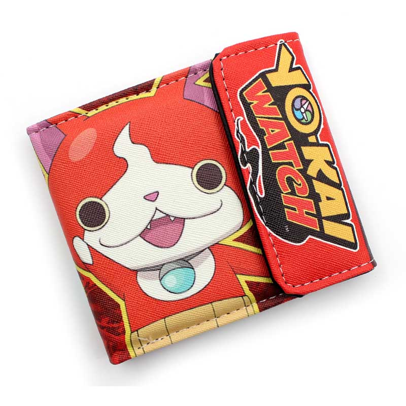 Anime Yo-kai Watch Jibanyan High Quality PU Short Wallet/Kawaii Kitten Purse with Button free shipping anime folding wallet kingdom hearts sora high quality short pu purse