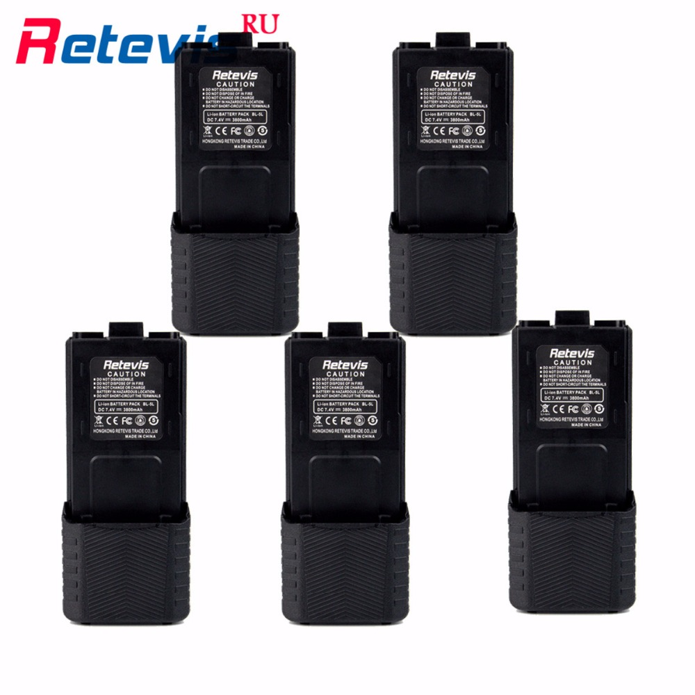 5Pcs Large Capacity 2800mAh Li ion Battery BL 5L For Retevis RT 5R RT5R Baofeng UV5R