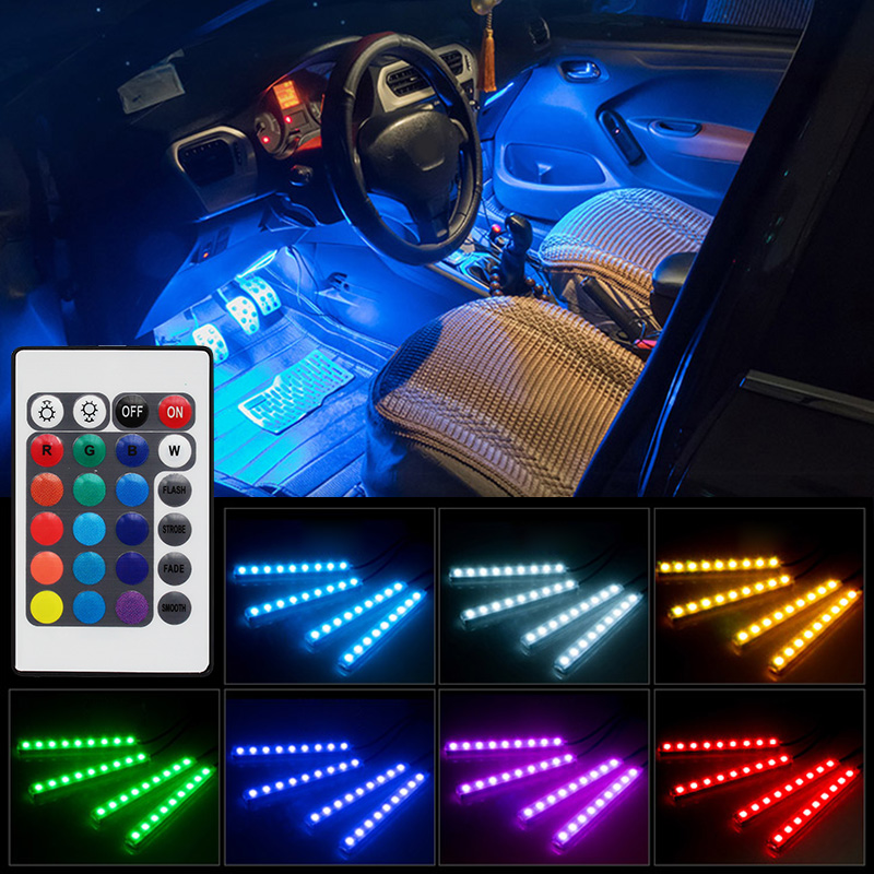 RGB 5050 SMD Flexible LED Strip Interior Decoration Light with Remote Control DC12V-in Decorative Lamp from Automobiles & Motorcycles
