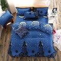 Cama definir o estilo nórdico estrela azul castelo set capa de edredão rainha do rei roupa de cama lençol bedcloth flor impresso cinco tamanho