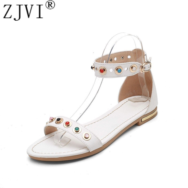 Фото ZJVI women 2018 hot summer cow leather flat sandals womens fashion ladies ankle warp sandal woman sexy crystal flats party shoes