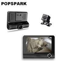 POPSPARK 4 Inch 170 Degree 3 Lens Car Mirror DVR Dash Camera Anti Shake Vehicle Driving
