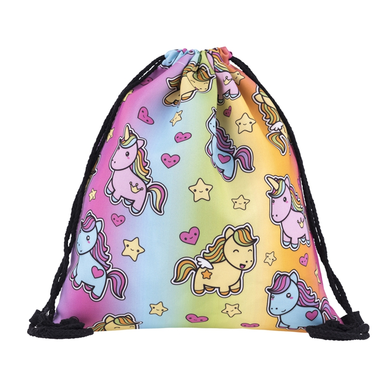 RAINBOW UNICORN mini backpack 3D Printing 2017 school Travel Softback Man Women Mochila Feminina Drawstring Bag Mens Backpacks