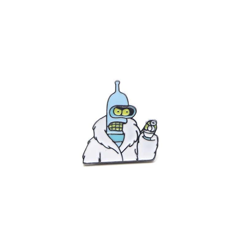V125 Futurama dan Powerpuff Girls Logam Enamel dan Bros Fashion Kerah Pin Tas Ransel Lencana Koleksi Hadiah