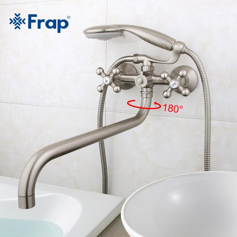 Frap 1 conjunto 36cm comprimento tomada girada corpo de bronze níquel escovado torneira do chuveiro do banheiro com cabeça chuveiro abs F2619-5