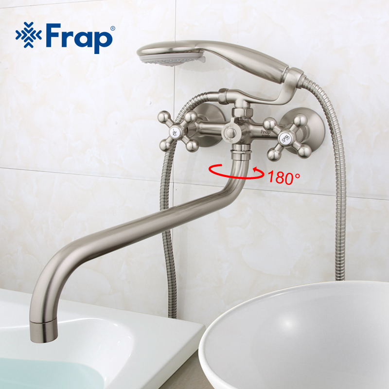 Frap 1 set 36cm length outlet rotated Brass body Nickel Brushed Bathroom shower faucet With ABS shower head F2619-5Frap 1 set 36cm length outlet rotated Brass body Nickel Brushed Bathroom shower faucet With ABS shower head F2619-5