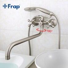 Frap prise de courant, corps en laiton tourné Nickel brossé robinet de salle de bains douche avec pomme de douche en ABS F2619 5 1 ensemble