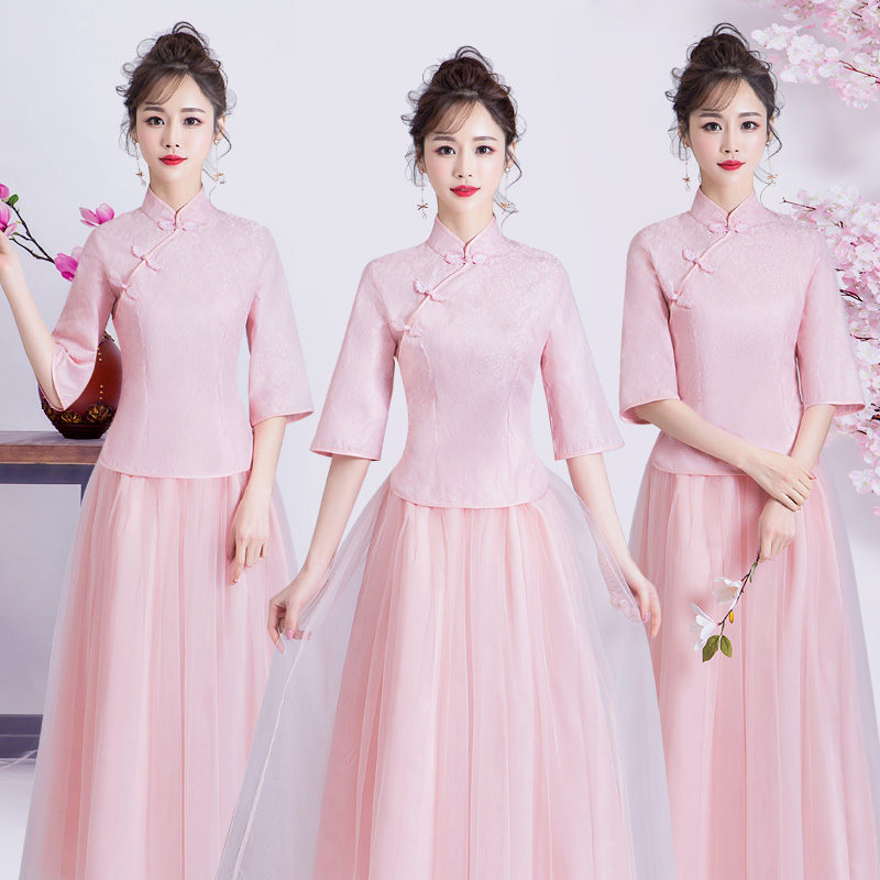 Pink Bridesmaid Dresses For Wedding Party For Woman Junior Cheongsam Elegant Embroidery A-Line Vestido Dresses Prom Guest Party