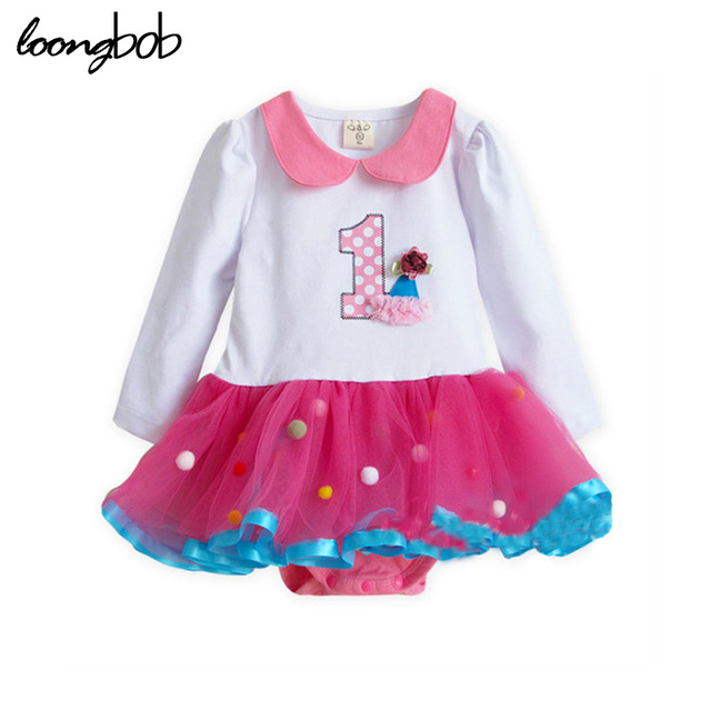 2017 new spring autumn baby girls dresses princess rompers one piece infant clothing laced pink roupas de bebe clothing 906A
