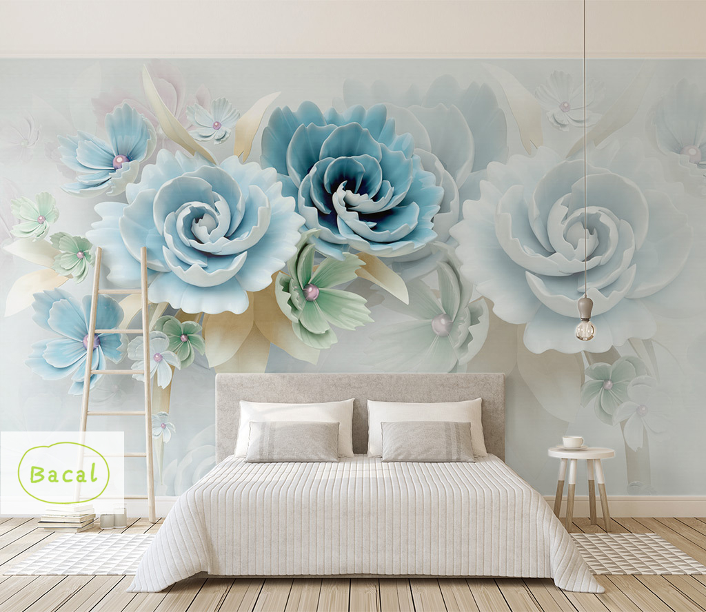 3d Custom Photo Wallpaper Mural Painting Blue Flowers Wallpapers