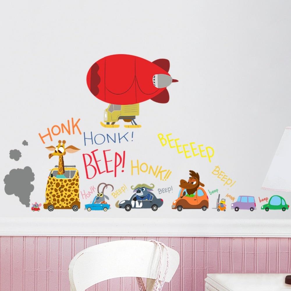PVC Crazy Animal City kids room nursery bedroom living room ...