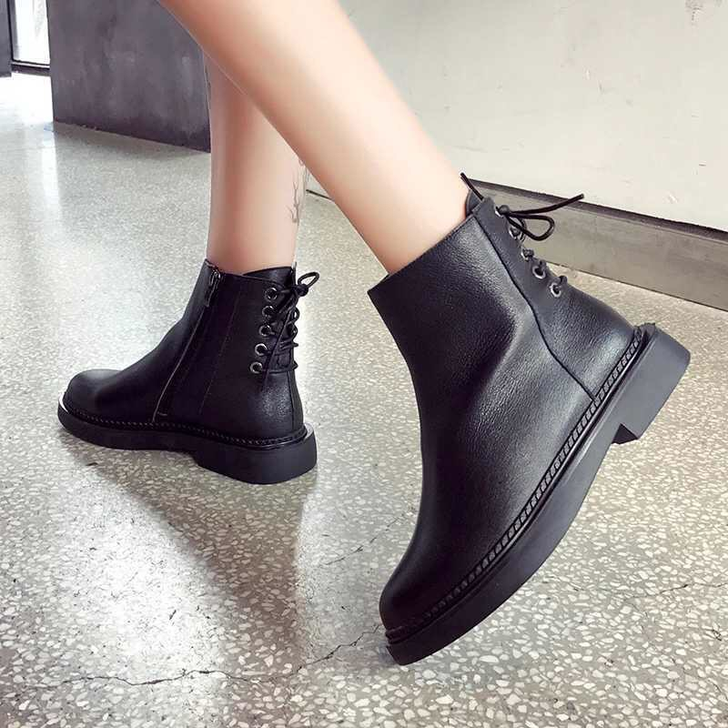 style winter boots women 2019 fashion soft genuine leather women boots after individual character bind band