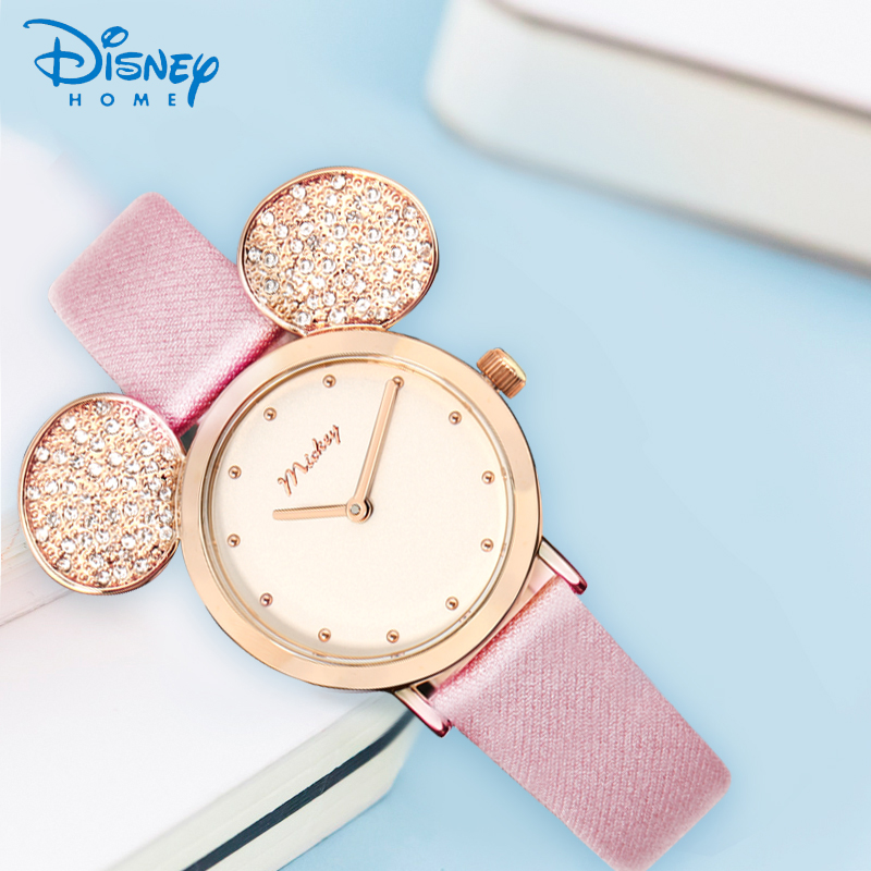 Brand Disney Watch Minnie Mouse For Girls Gift New Arrivel Quartz Animal Shape Watch Cute Leather Waterproof Kids Watch Hodinky simba пупс minnie mouse