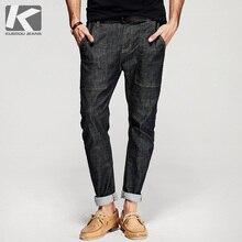 KUEGOU 2017 Frühling Mens Fashion Denim Hosen Schwarz Farbe Zipper Harem Jeans Schlank Pockets Hosen Man Wear Marke Kleidung 8309