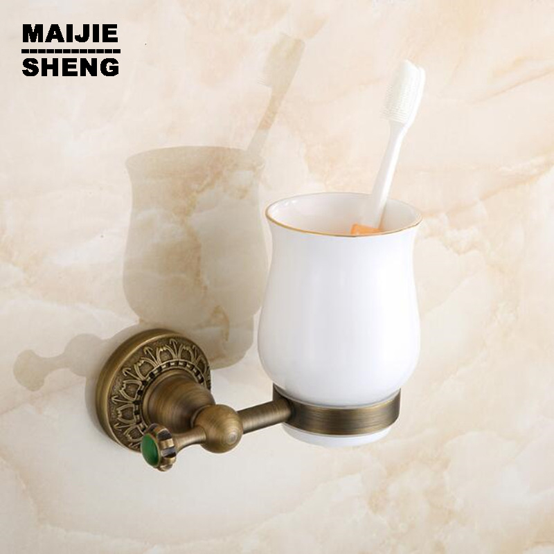 accessory sanitary ware bathroom furniture toilet Brass antique brown single tumbler cup holder toothbrush holder bathroom image