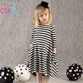 2017 Новых осенью девушки платья полосой дети платье дети повседневная с длинным рукавом платье детей платья девушки