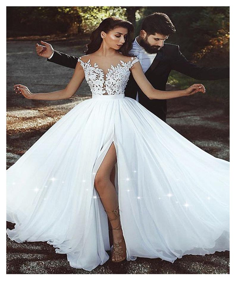 eb6395ba779e Thinyfull Vestido De Noiva Simple Beach Wedding Dress 2019 A-Line Cap  Aleeve Side Slit