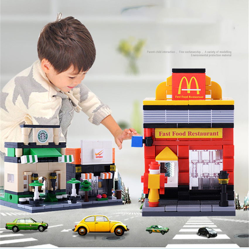 6 design Legoings Street 3D Retail Store McDonald Cafe Apple Shop Educational Building Blocks Toys for Children