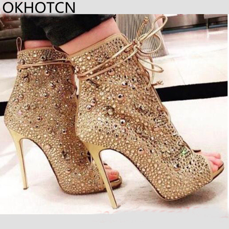 Sexy Peep Toe High Thin Heels Women Sandals Luxurious Bling Crystal Party Stage Ankle Boots Gladiator Shoes Women zapatos mujer summer zapatos mujer peep toe 15cm thin high heels sandals crystal platform sexy woman shoes wedding dance shoes
