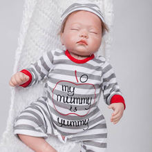 Closed Eyes 20 Inch Newborn Sleeping Boy Doll Lifelike Reborn Babies Toy Cloth Body Baby Dolls With Stripped Clothes For Sale