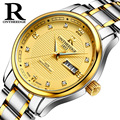 2017 New Luxury Watch Brand RON Quartz Watch Men Steel Fashion Clock Male Waterproof Watches With Complete Calendar Relogio 025